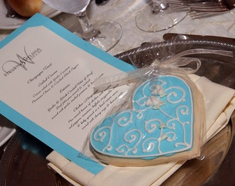Tiffany Heart Cookie Favors - Heart Wedding Favors - Heart Decorated Cookie Favors -  4.00 ea.