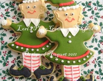 Christmas Elf Cookies - Christmas Cookies - Elf Cookies - 6 Cookies