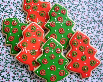 Christmas Tree Cookies - Red Green & Gold - 6 Cookies