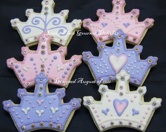 Princess Crown - Tiara  Cookie Favors - Crown - Tiara Cookie Favors - Prince Crown Cookie Favors - 1 Dozen