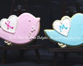 LOVE BIRD Cookies - Love Bird Decorated Cookies - Love Bird Cookie Favors - 1 Dozen