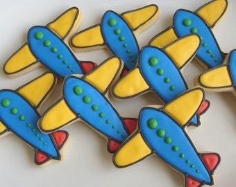 Airplane Cookies - Train Cookies -  1 Dozen