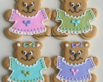 Teddy Bear  Decorated Cookie Favors - Baby Shower Cookie Favors  -  Bear Decorated Cookies - 1 Dozen