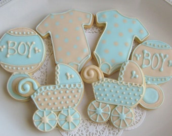 Blue and Ivory Baby Shower Cookie Favors -  Baby Shower Decorated Cookies - Cookie Gift - 1 Dozen