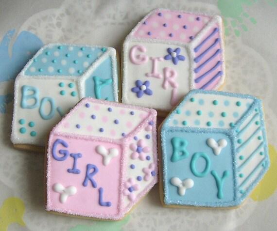 BABY BLOCK Decorated Cookies Baby Block Cookie Favors Baby