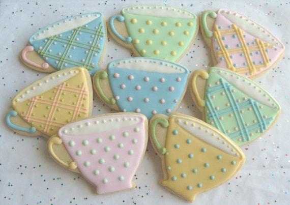 BREAK TIME - Tea Cup Cookie Favors - Tea Cup Decorated Cookies - Cookie Favors - 8 Cookies