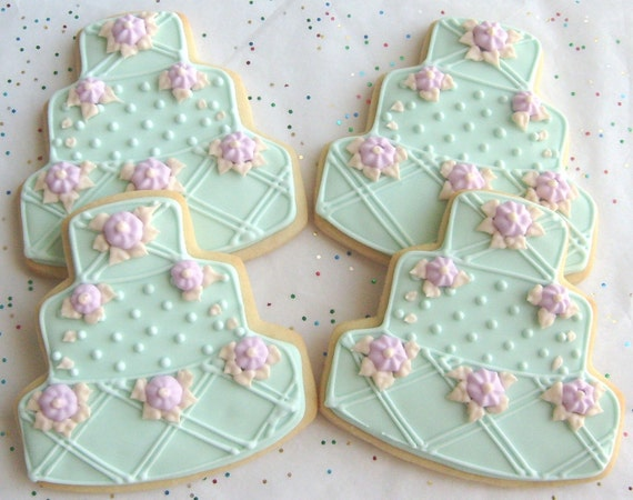 iced wedding cake cookies reserved for katrinaoceanside wedding cake cookie favors 16245