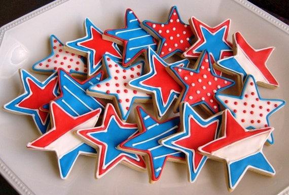 STARS and MORE STARS Decorated Cookie Favors - Partriotic Cookie Favors - Star Decorated Cookies - 1 Dozen