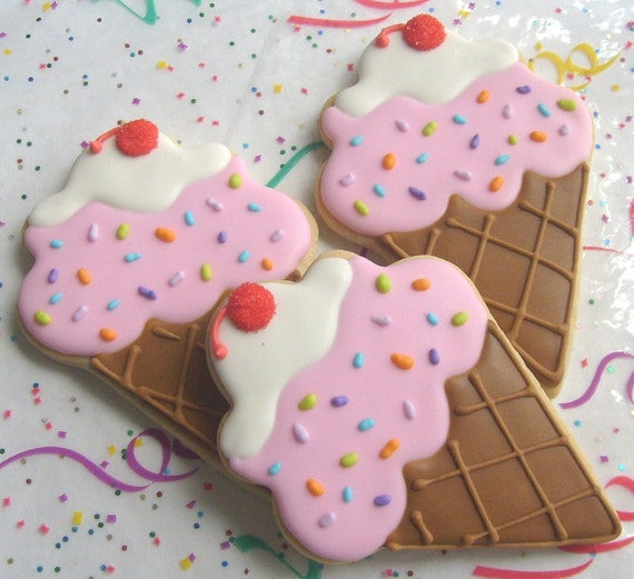 Reserved for Jeannine----Ice Cream Cone Cookies - Favors - Large Ice Cream Cone Cookies - Ice Cream Cone Decorated cookies - 1 Dozen