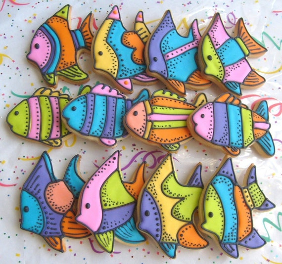 Reserved for Sheri----Tropical Fish Decorated Cookie Favors - Fish Cookies - Fish Decorated Cookies - 1 Dozen