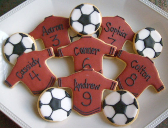 Reserved for Andrea-------PERSONALIZED Soccer Team Cookies - Soccer Decorated Cookies - 3.00 each set