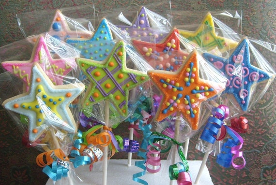 Reserved for WhereIsKristen --Star Wand Cookie Pops - Cookie Suckers - Fairy Wand Cookie Favors - 1 Dozen