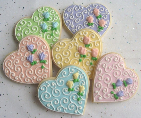 Reserved for Heidi-----ROMANTIC HEART Decorated Cookie Favors -  Wedding Heart Cookies - Heart Decorated Cookie Favors -1 dz.