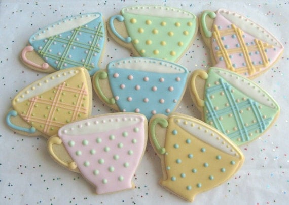 Reserved for Nancy---BREAK TIME - Tea Cup Cookie Favors - Tea Cup Decorated Cookies - Cookie Favors - 12 Cookies