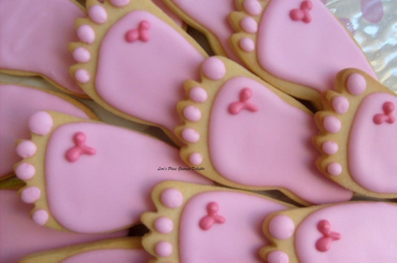 Reserved for Audrey-----BABY FEET Cookie Favors - Baby Feet Cookies - Baby Shower Cookie Favors - Baby Feet Decorated Cookie Favors -1 Dozen