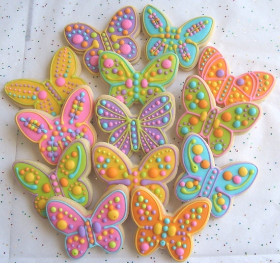 Reserved for Ronit---Butterfly Cookies - Butterfly Decorated Cookies - Butterfly Cookies - Cookie Gift - 1 Dozen