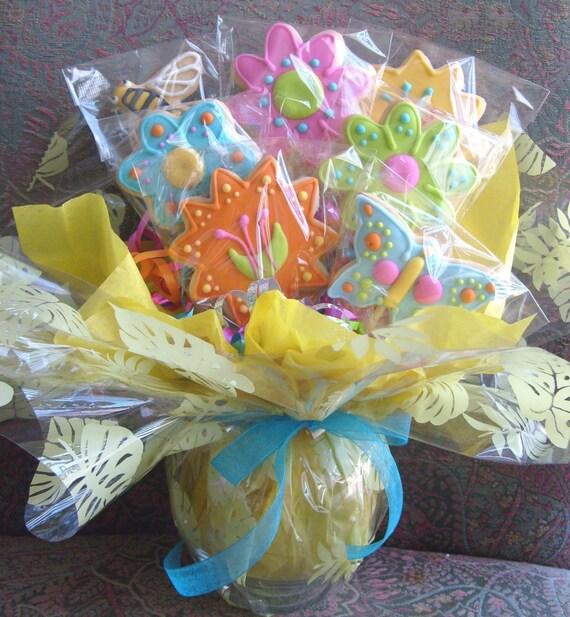 SPRING FLOWER Cookie Bouquet - Flower Decorated Cookies - Cookie Gift - Cookie Centerpiece