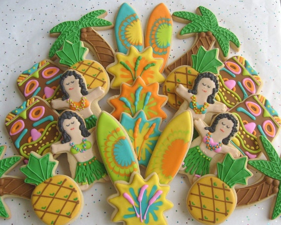 Reserved for DeAnna---Deluxe Luau Party Cookies - Luau Cookie Favors - 2 Dozen Mix