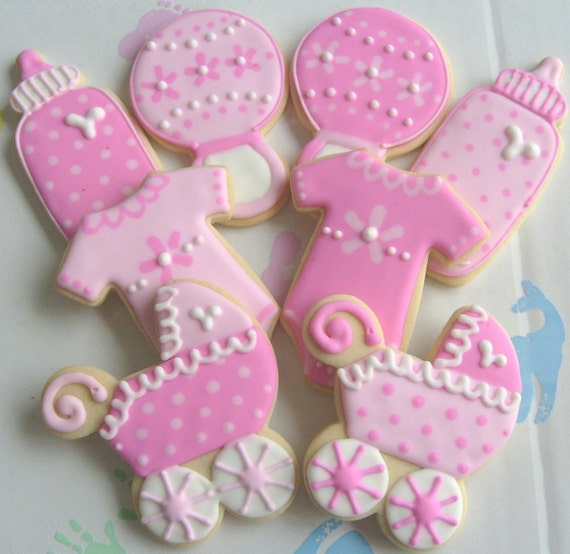 Reserved for Scarlett--Two Toned Baby Collection - Onesie - Carriage - Bottle - Bib - Rattle - Decorated Cookies - Cookie Favors - 1 dz.