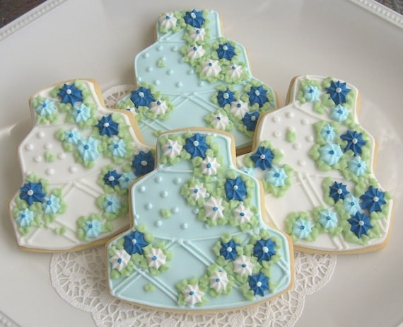 Reserved for Julie--- Wedding Cake Cookies- Blues and White - Wedding Decorated Cookie Favors - 4.00 each
