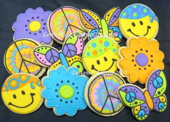 COOL Cookies - Peace Sign Cookies - Smiley Face Cookies - Butterfly Cookies - Flower Cookies - 12 Cookies