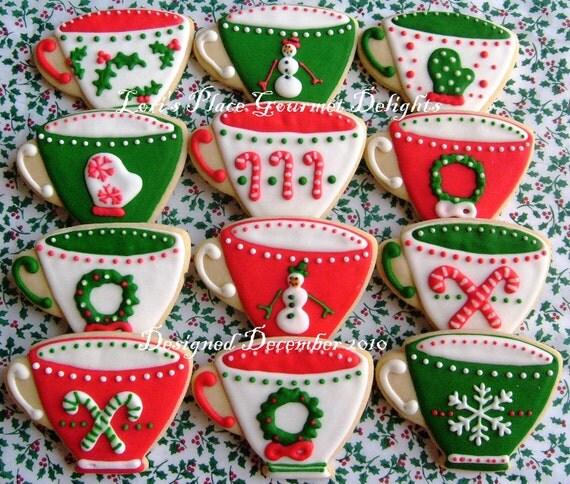 Christmas Tea Cups - Christmas Cookies - Cookie Gift - 1 Dozen