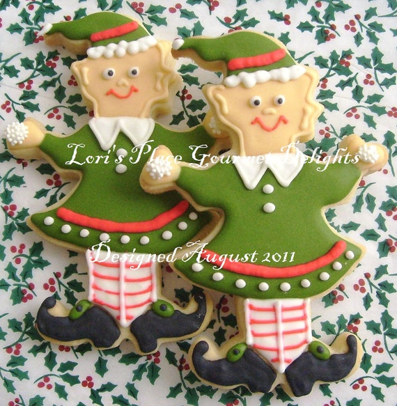 Reserved for Heather----Christmas Elf Cookies - Christmas Cookies - Elf Cookies - 6 Cookies