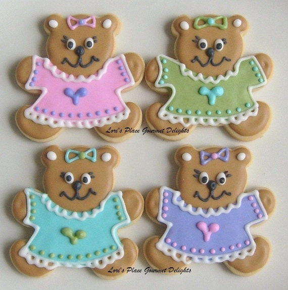 Teddy Bear Decorated Cookie Favors Baby Shower Cookie