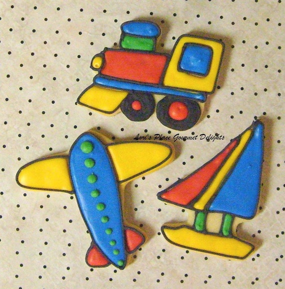 PLANES - TRAINS  and  SAILBOATS - Airplane  Cookie Favors - Train Cookie Favors - Sailboat Cookie Favors - Decorated Cookie Favors - 1 Dozen