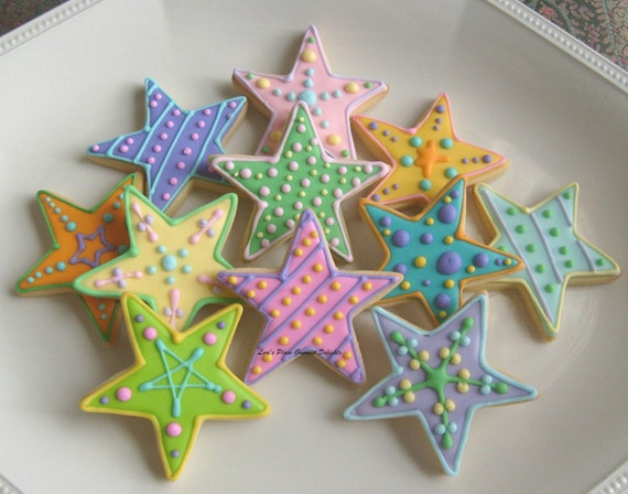 COLORFUL STAR DECORATED COOKIES Star Cookie Favors Cookie