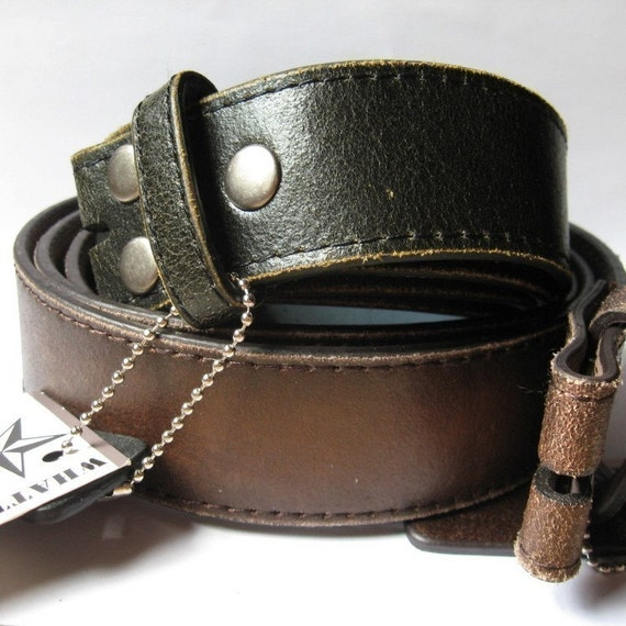 Distressed black or brown leather snap on belts