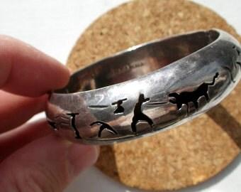 Solid Sterling Silver Shadow Cuff Bracelet