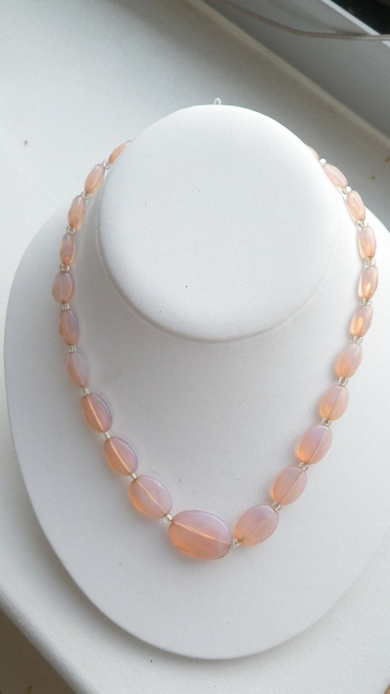 RESERVED - Vintage Pink Quartz Graduated Necklace
