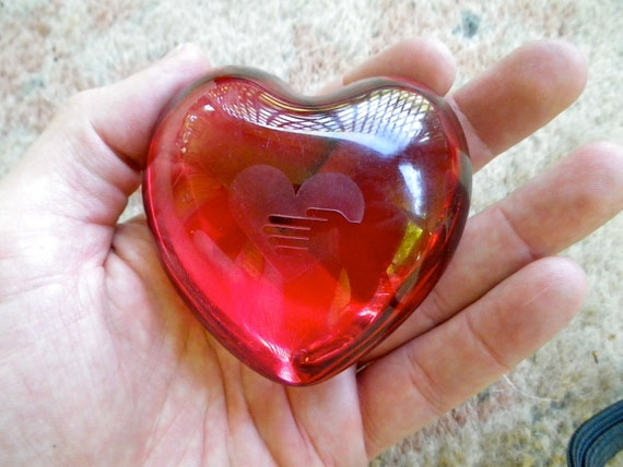 Vintage Ruby Red Baccarat Crystal Heart Paperweight