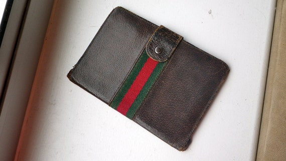 Vintage GUCCI Leather wallet travel or daily use - Signature Canvas stripe