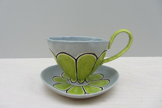 Gray and Green Scalloped Cappuccino Cup and Saucer