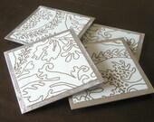 Matisse Like Pattern Coaster Set \/ Recycled Metal and Vinyl