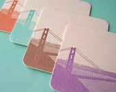 SF Golden Gate Bridge - letterpress coasters - set of 8 - mixed colors