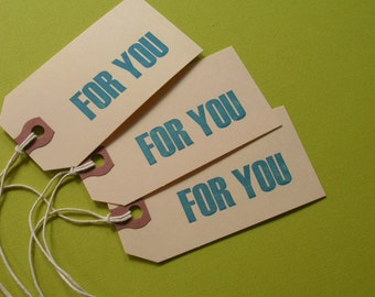 letterpress gift tags - set of 12