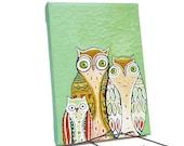 Owl Art - ORIGINAL ARTWORK - Hand Painted - Family Portrait - Owl Decor - Whimsical Art - Woodland Animals - Mint Green - 5x7