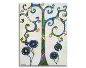 Tree of Life Folk Art Painting, Acrylic Painting on Canvas, Abstract Landscape 12x16