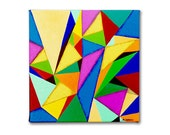 Abstract Acrylic Painting - Original Geometric Triangles Modern Wall Art 12x12