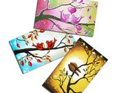 Refrigerator Magnets - Kitchen Decor - Birds Art - Whimsical Art - Set of 3