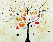 Tree Art, Tree of Life Canvas Wall Art, Modern Art Abstract Landscape, Whimsical Art, Wall Decor, Earth Tones 16x20