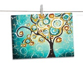 Tree of Life ACEO Art Print - Artist Trading Card - Teal Giclee Signed