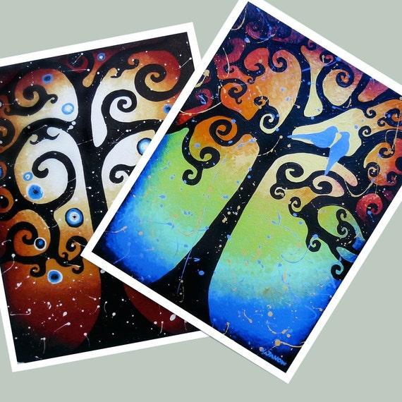 Giclee Prints Birds Swirling Tree of Life Art Set of 2