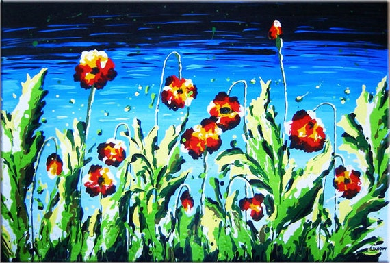 RESERVED - Red Poppy Painting - Flower Art - Hand Painted - Original Artwork - Wall Decor - HUGE 24x36