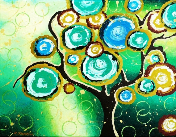 Emerald Green Tree of Life Original Acrylic Painting on Canvas - Whimsical Landscape - Modern Wall Art - 11x14