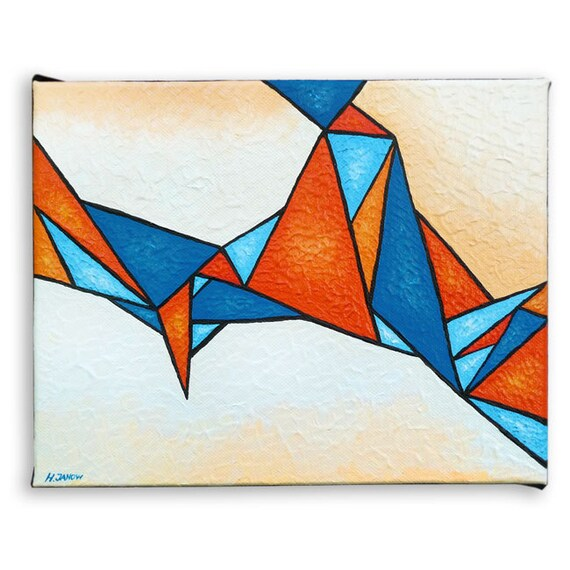 Abstract Painting, Modern Wall Art, Abstract Art, Geometric Wall Art Acrylic Painting, Orange Blue Triangles 8x10 Signed