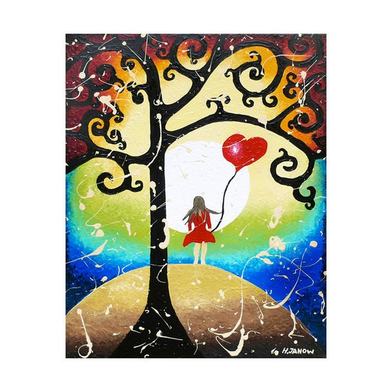 Original Acrylic Painting - Tree of Life Fantasy Art Inspirational Art - Folk Art Girl and Red Heart  Wall Decor 16x20
